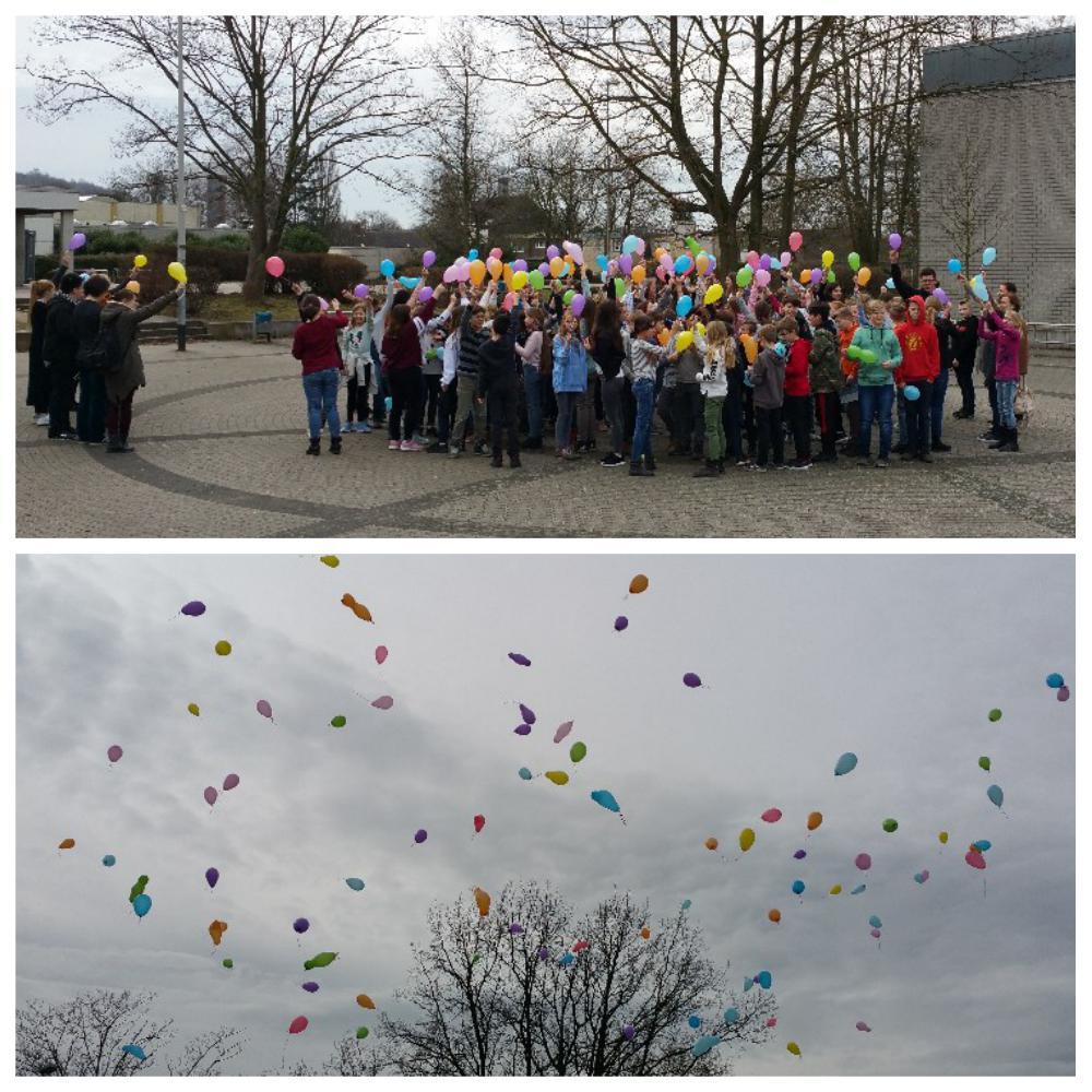 """""""Schule ohne Rassismus – Schule mit Courage"""" – Luftballonaktion des 5. Jahrgangs"""